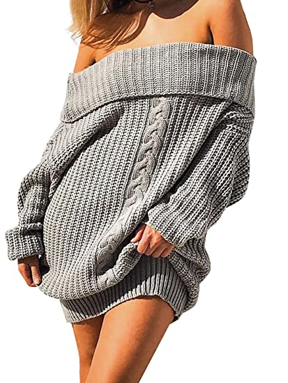 417878c51b1 Glamaker Women's Pullover Loose Sweater Dress Short Off Shoulder Knit Dress  Oversized Gray at Amazon Women's Clothing store: