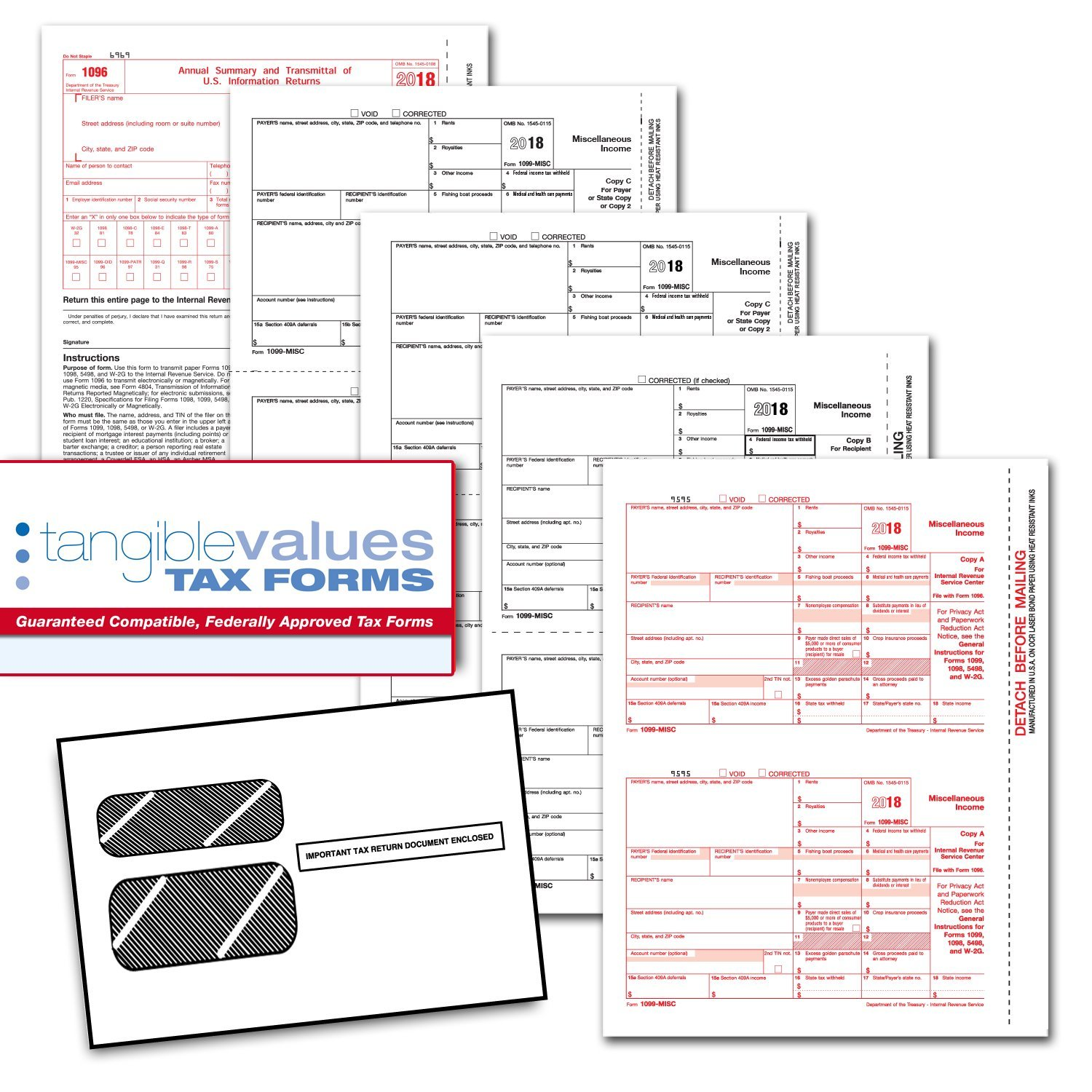 Tangible Values 1099 Misc Laser Forms (4-Part) Kit with Env for 25 Vendors + 3 Form 1096's (2018)
