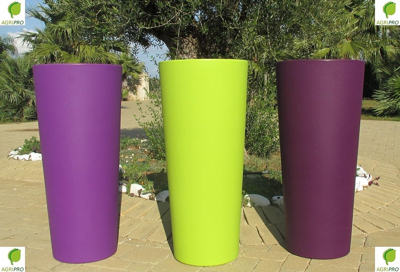 VASO coloreE verde ANICE IN RESINA GENESIS CACHE-POT ROTONDO ALTO H 85 X 38