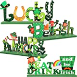 4 Pieces St. Patrick's Day Wooden Centerpiece Sign Shamrock Table Decorations Centerpiece Irish Wooden Table Top for Home Par