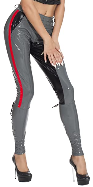 Insistline Damen Datex Latex Jacke Bluse Military Style