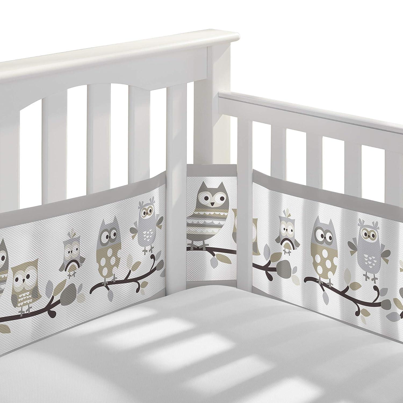 BreathableBaby Classic Breathable Mesh Crib Liner - Owl Fun Gray