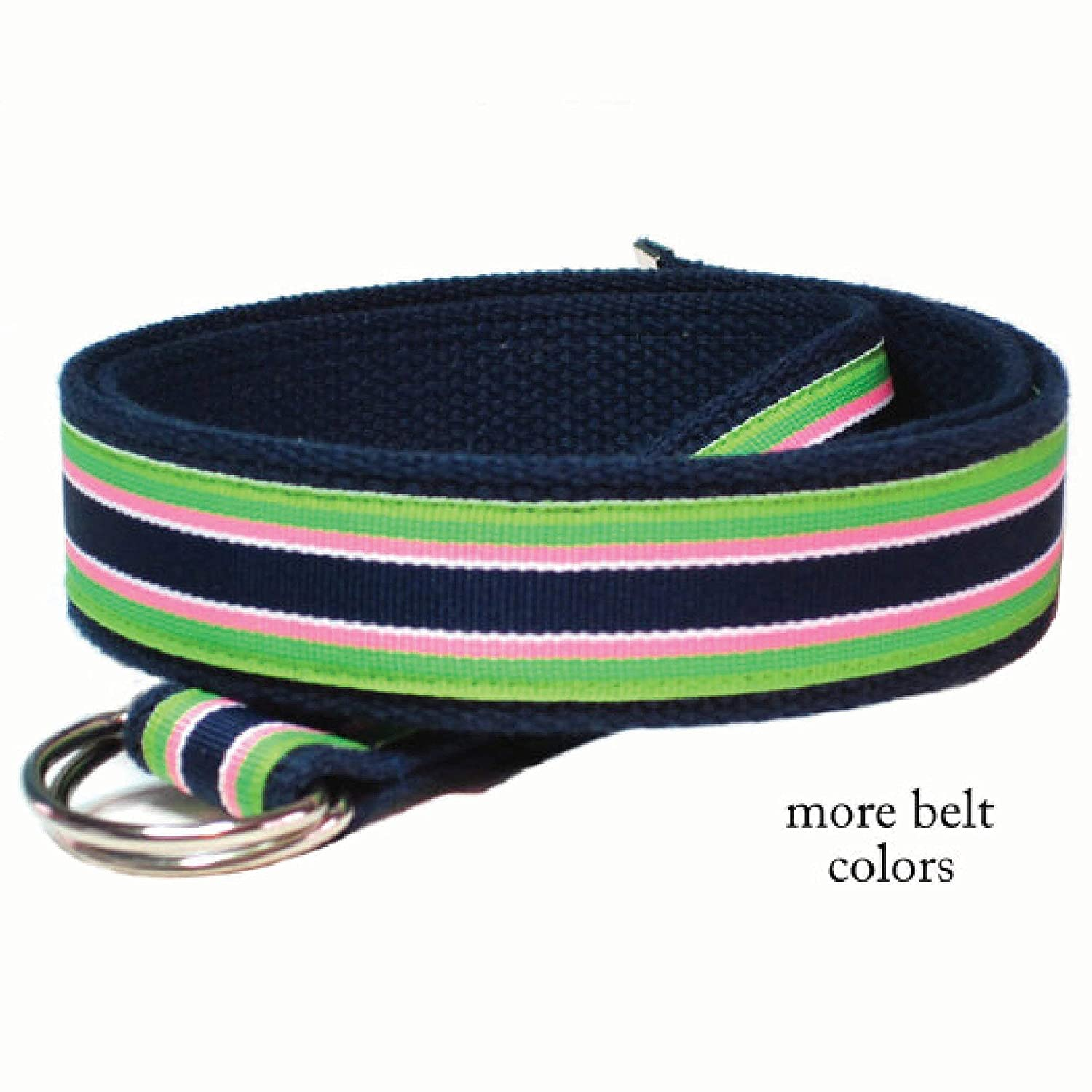Mens Belt/Canvas Belt Green Pink Navy Striped Belt/Gifts for Men/D-ring Belt Ribbon Belt - Bahama Breeze in sizes XS to Big and Tall Man Belt (Bahama Breeze)