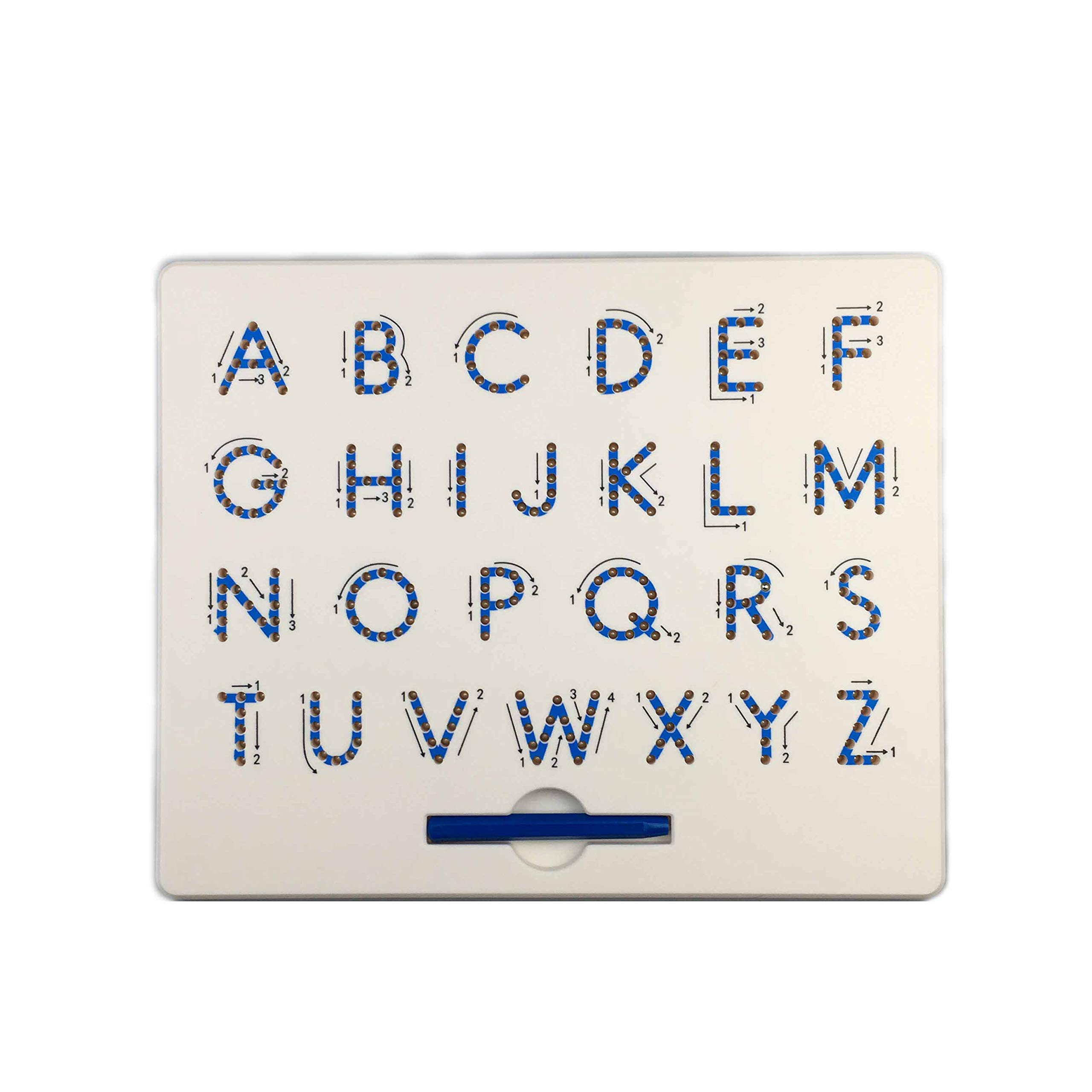 JohnCalbe Magnetic Tablet Drawing Board Pad Toy Bead Magnet Stylus Pen 26 Alphabet Numbers Writing Memo Board Learning Educational Kid Toy