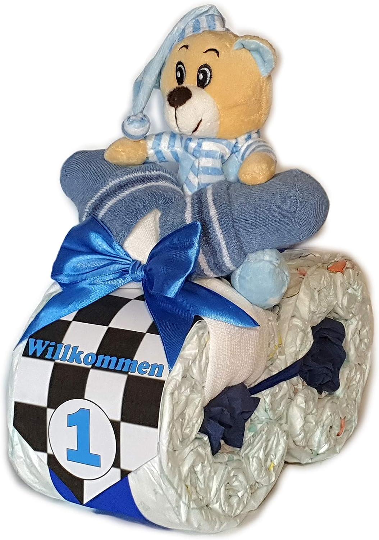 Geschenk zur Geburt Windeltorte Windelmotorrad Rallye rosa #1