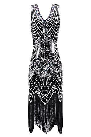Metme Femmes 1920 Perlé Col Le V Gatsby Élégant Robe Thème Bal En Pour Années Clapet Tenue Frange zSpLVqUMG