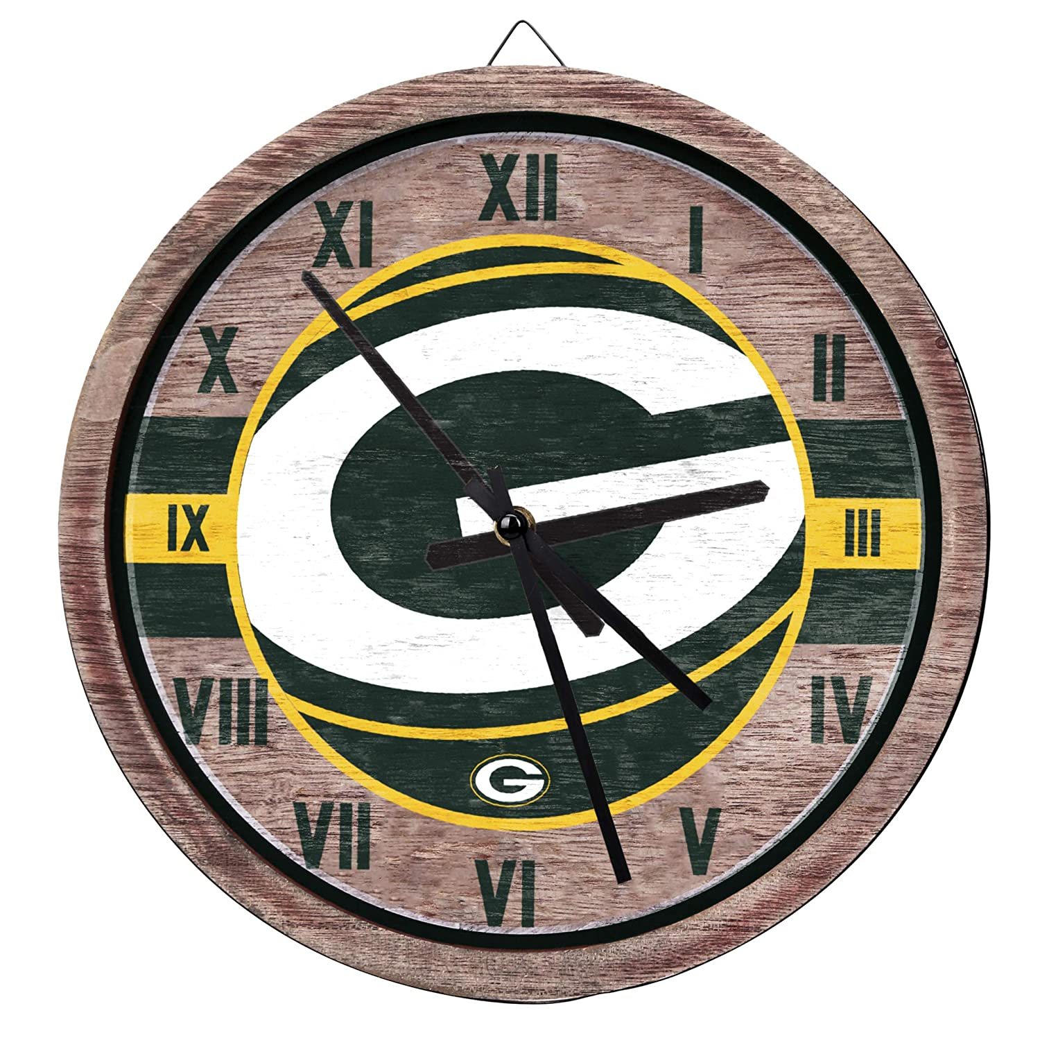 FOCO Barrel Wall Clock – Limited Edition Wooden Clock – Represent The NFL and Show Your Team Spirit with Officially Licensed Fan Decor