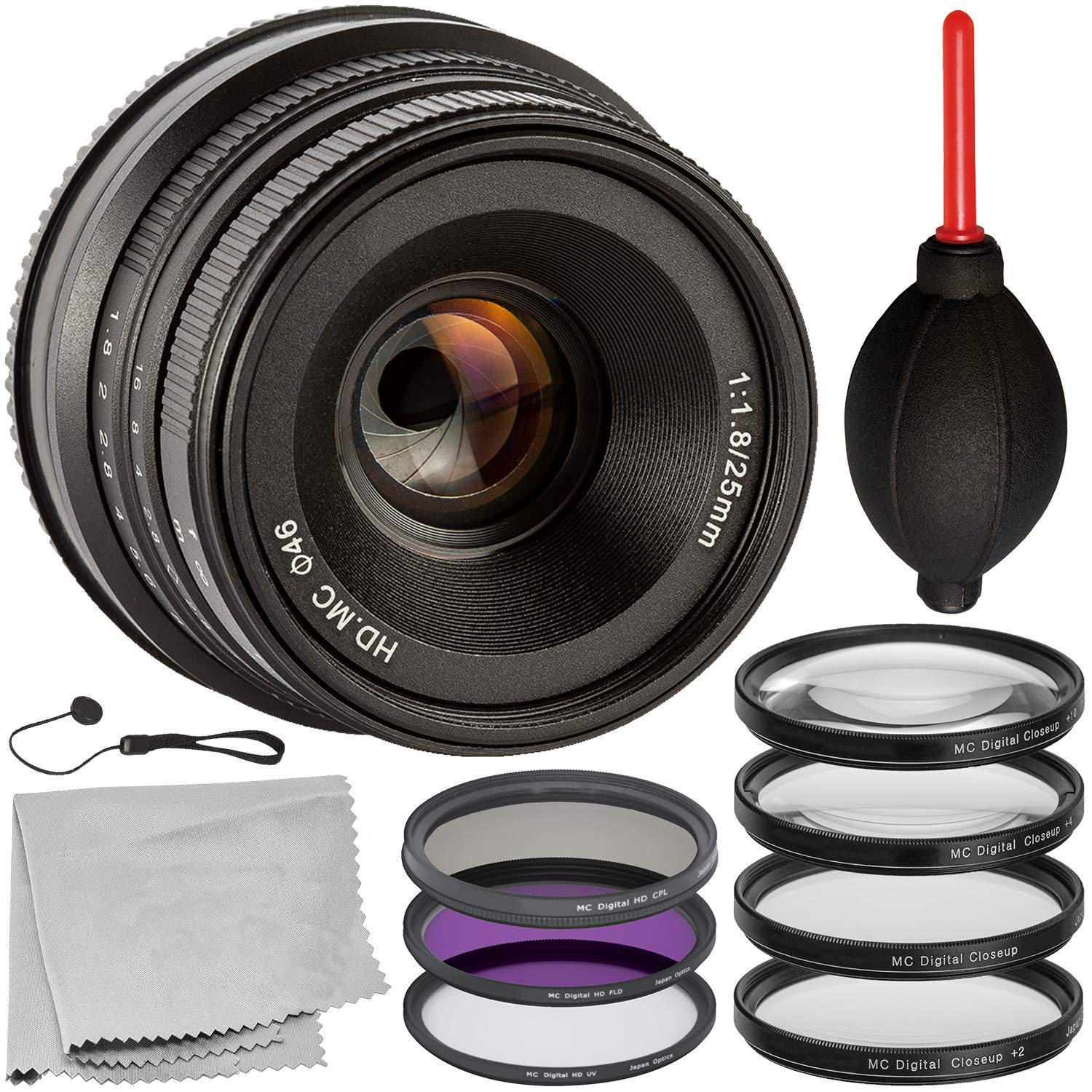 Microfiber Cleaning Cloth Lens Cap Keeper Includes: 3PC Filter Kit Multi-Coated 25mm f//1.8 Manual Lens for Fuji X-Series with 10PC Accessory Bundle 4PC Close-Up Macro Lenses Dust Blower