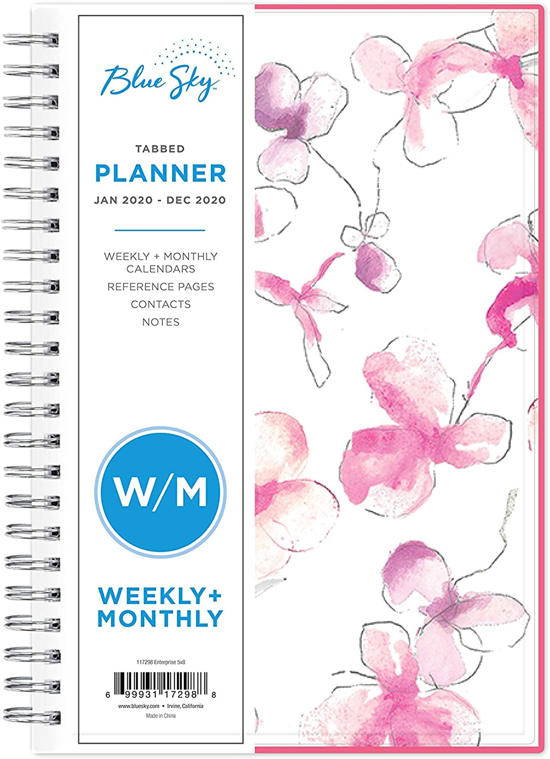 "Blue Sky 2020 Weekly & Monthly Planner, Flexible Cover, Twin-Wire Binding, 5"" x 8"", Orchid"