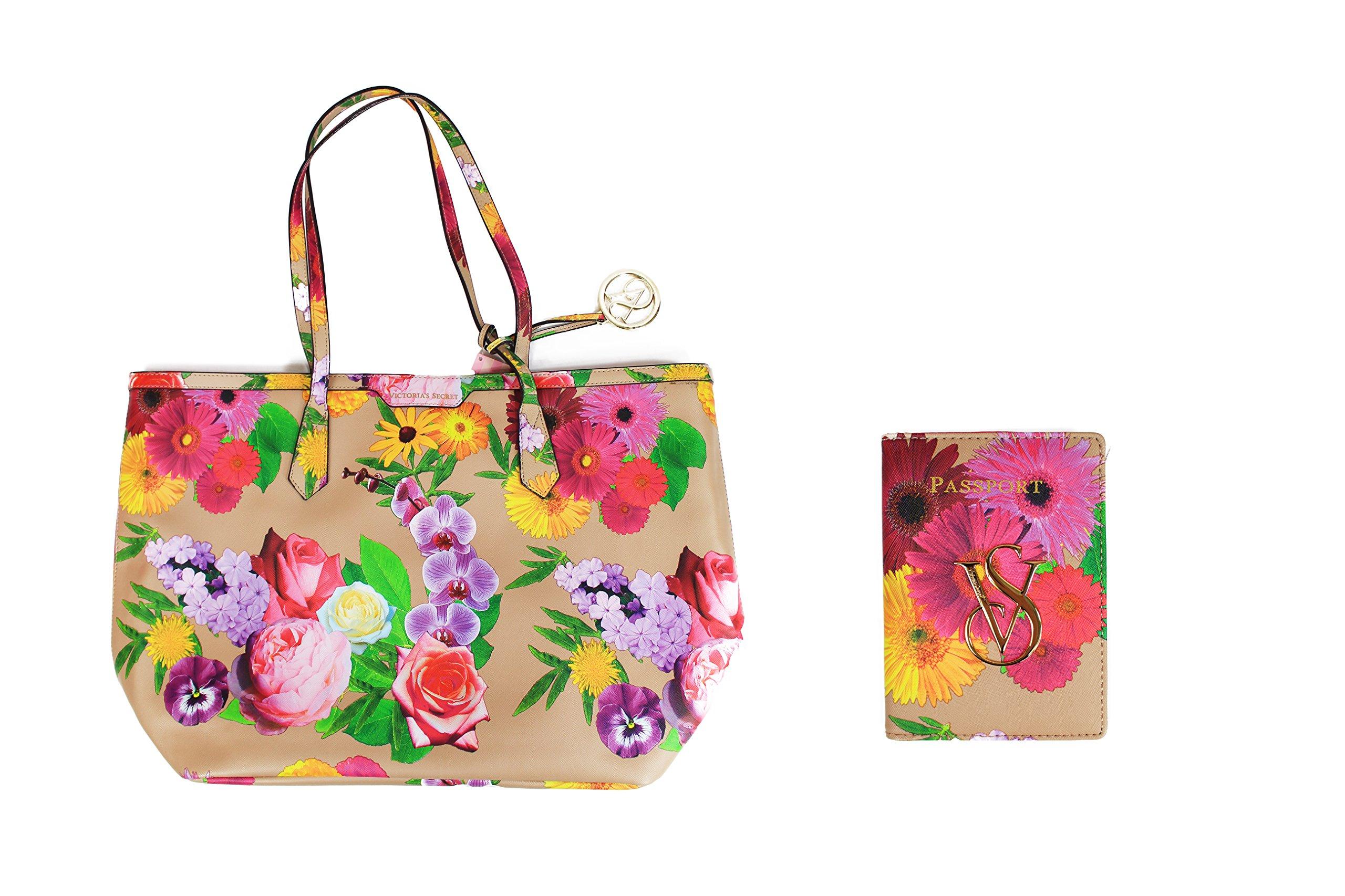 Victoria's Secret Leather Floral Large Tote Bag & Passport