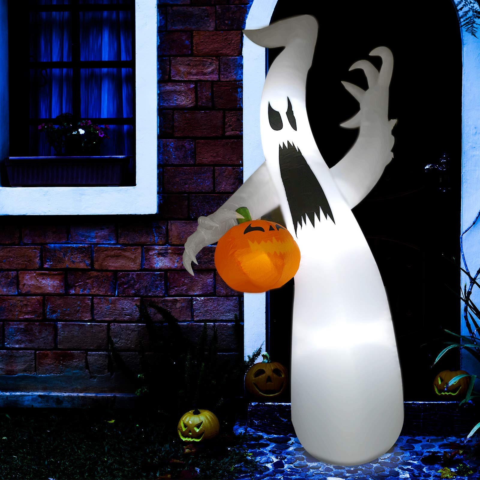 Sunlit 8 Ft Halloween Inflatable Air Blown Ghost with Pumpkin with Blower and Adapter, Lighted for Home Yard Garden Indoor Porch Outdoor Decoration Halloween Party, Trick or Treat Night