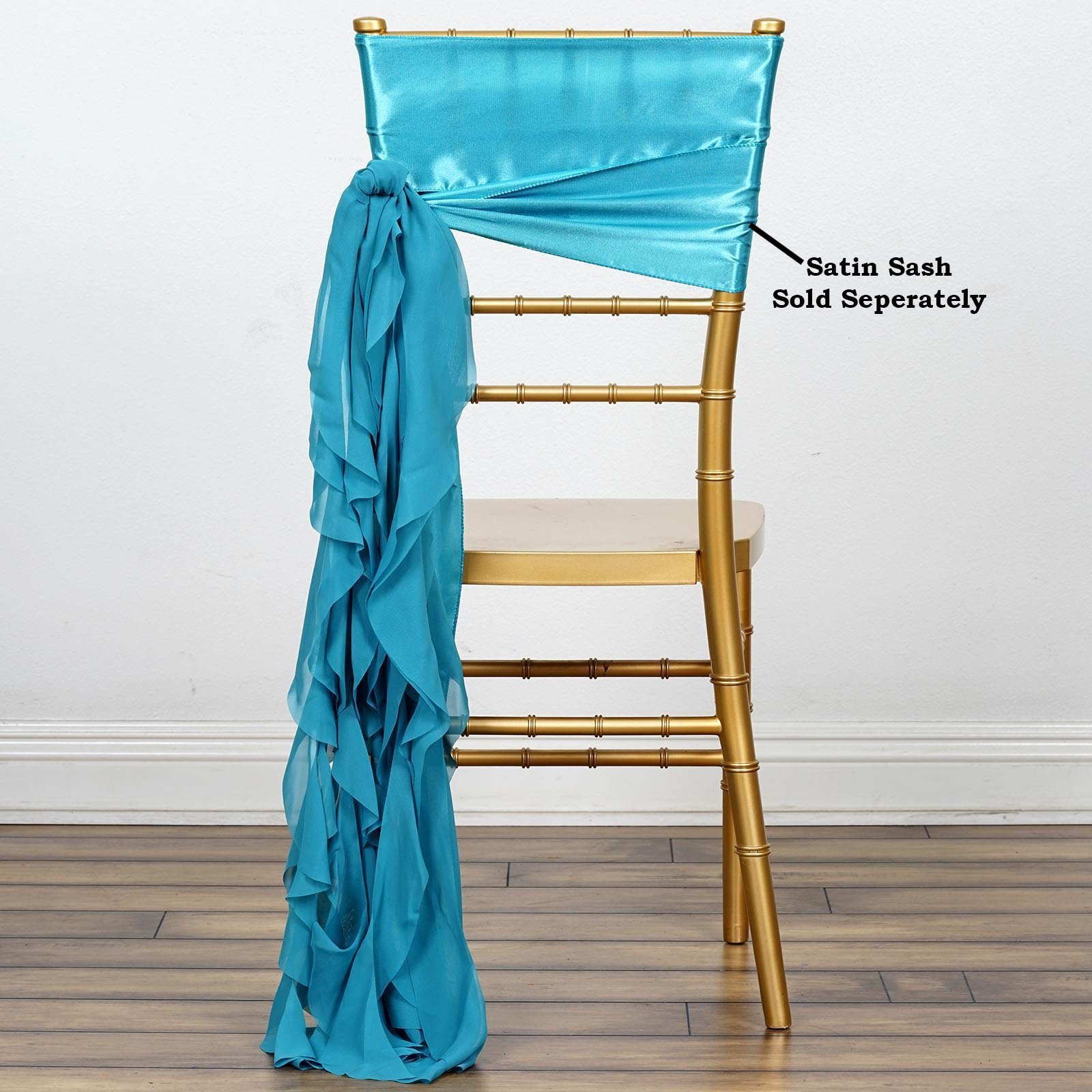 Efavormart Tableclothsfactory 5pcs Chiffon Turquoise Curly Chair Sashes For Home Wedding Birthday Party Dance Banquet Event Decoration