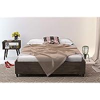Midtown Concept King Platform   Wood Slat Support  Distressed Brown Bed