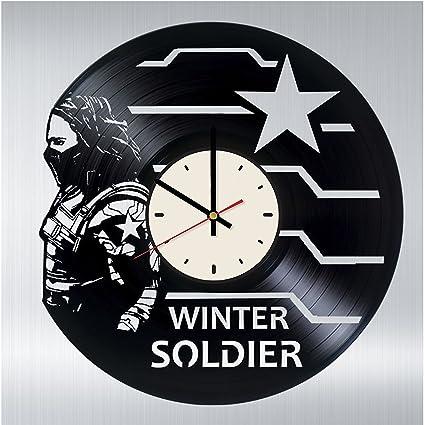 winter soldier vinyl record wall clock artwork gift idea for birthday christmas women