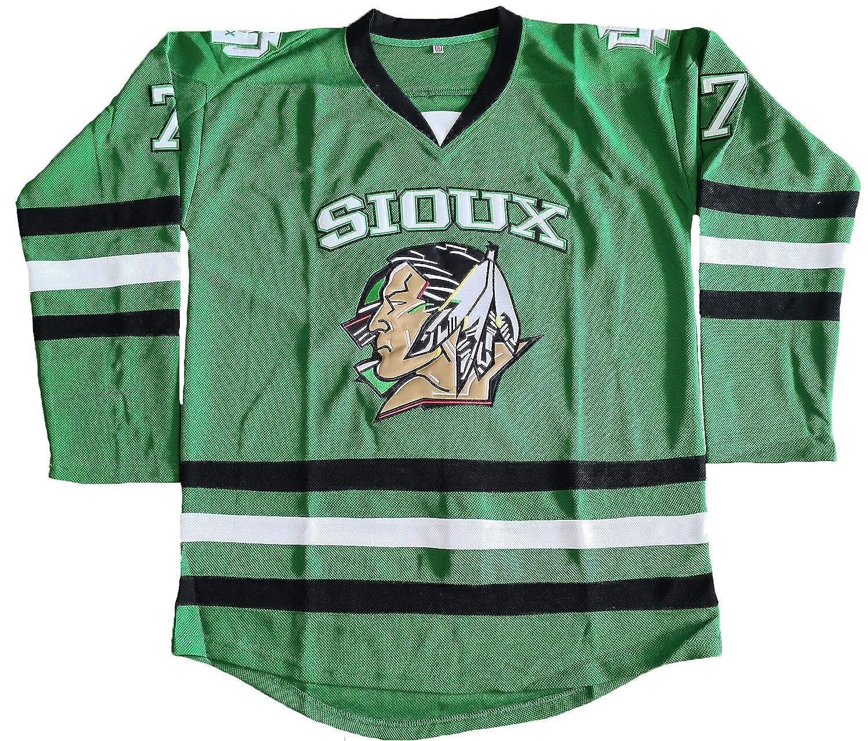 the best attitude 74ee1 3e003 North Dakota Fighting Sioux 7 TJ Oshie 11 Zach Parise Hockey Jersey Green