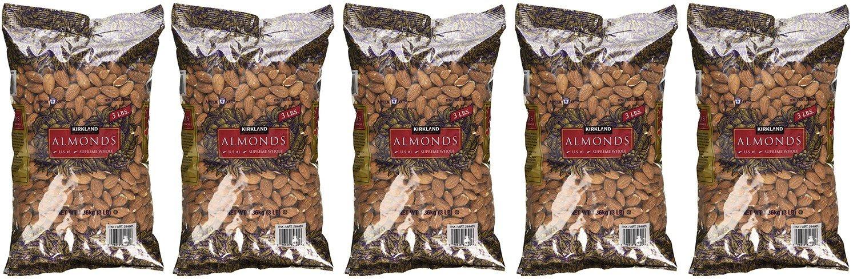 Kirkland Signature, Supreme Whole Almonds Ygmsp 3 lb bag (Pack of 5)