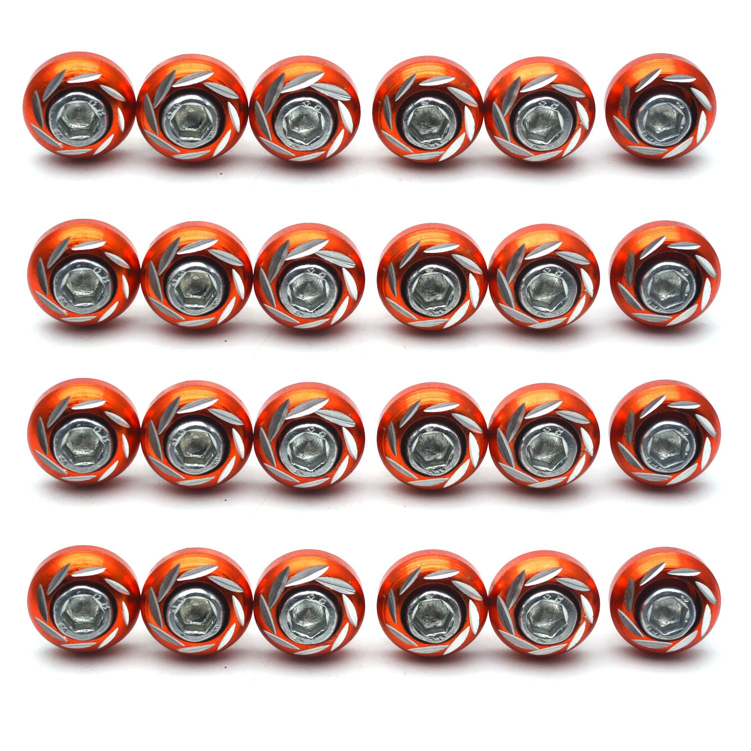 24pcs Guangzhou Openfind Electronic Commerce CO LTD Antrader Universal M6 Thread Decorative License Plate Frame Bolts Screws Aluminum Alloy for Car Motorcycle Orange