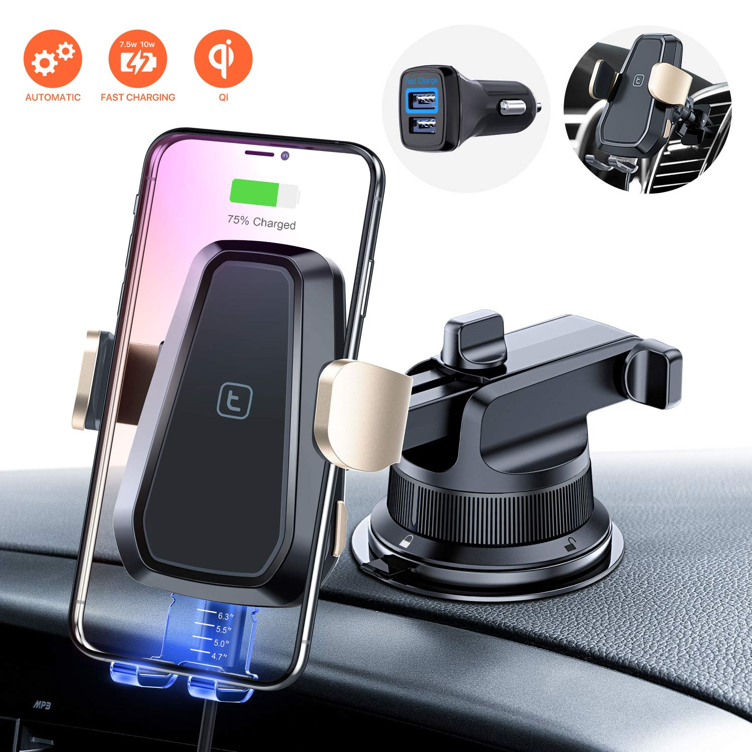 TORRAS Wireless Charger Car Mount Kit with QC 3.0 Charger, Windshield Dashboard and Air Vent Phone Holder, Qi Fast Charging for iPhone 11/11 Pro/ 11 Pro Max Xs Max XR X8, Samsung S10 S9 Note 10/10+ by TORRAS