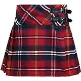 TiaoBug Kids Girls Tartan Pleated Billie Kilt Skirt Faux Leather Buckled Straps 4-14