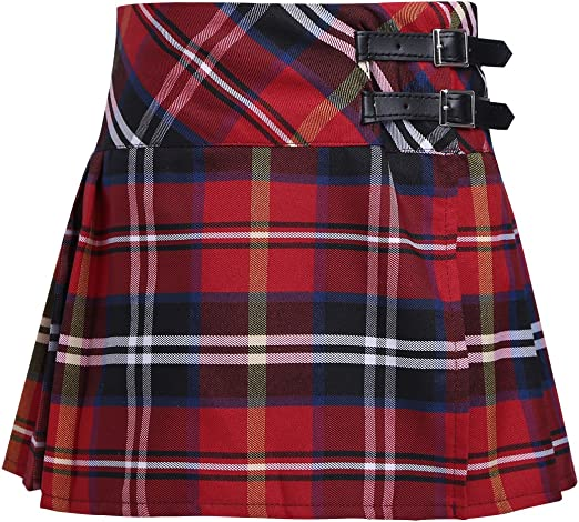 moily Girls Classic Plaid A-Line Pleated Tartan Mini Skirt Schoolgirls Uniform Dress Skater Scooter