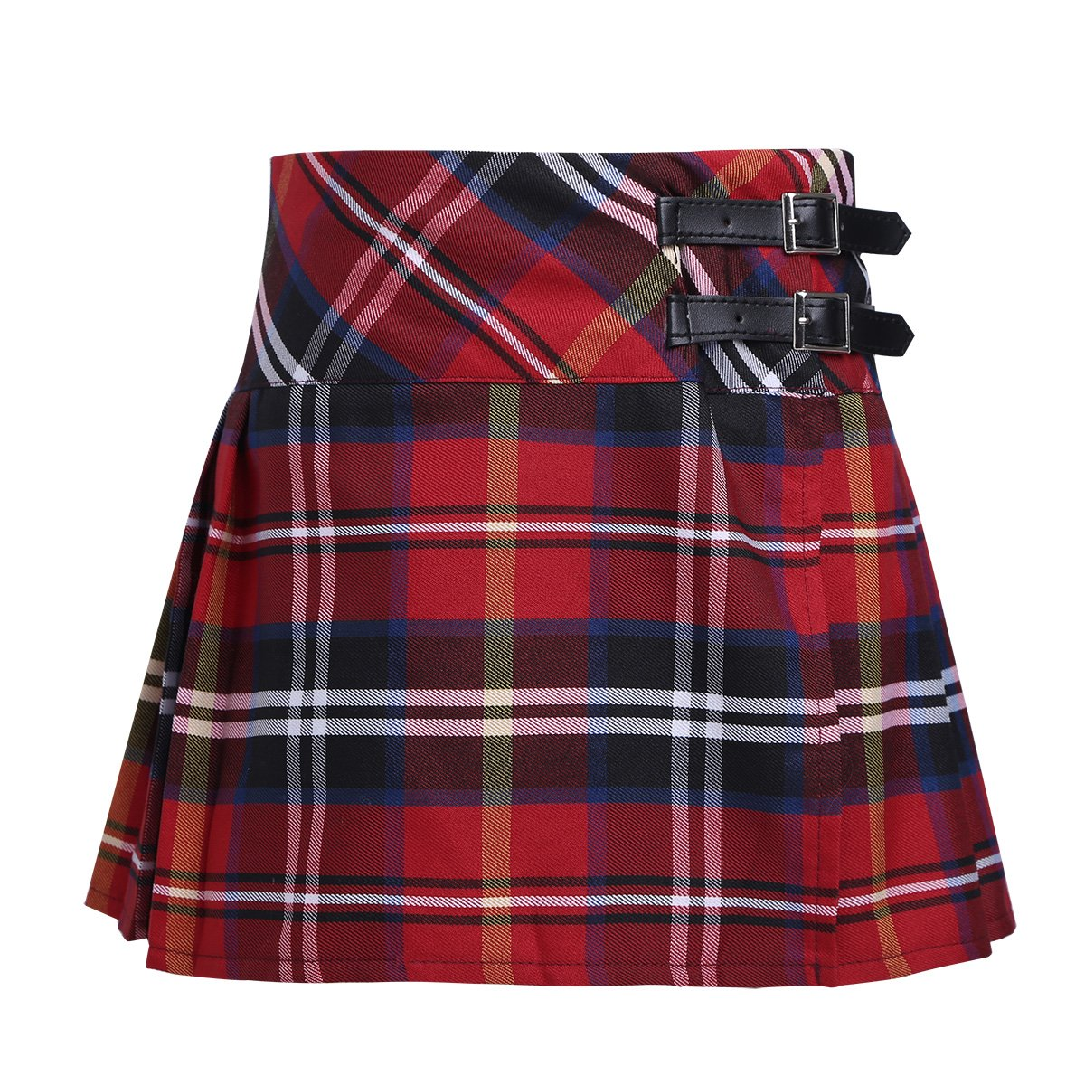 MSemis Girls Kids Pleated Plaid Tartan Billie Kilt Skirt with Leather Buckled Straps Classic School Uniforms Mini Skirts