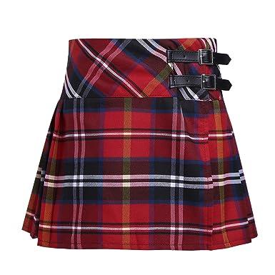 858e908f2cf906 Alvivi Mini Jupe Enfant Fille Jupe Plissés à Carreaux Jupe Écossais ...