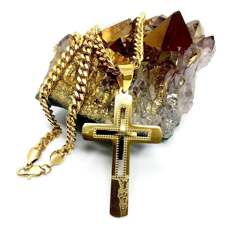massiver Verschluss Miami Cuban Link Stil 750 Halskette mit Kreuz-Anh/änger 18 Karat Gold 18 Karat