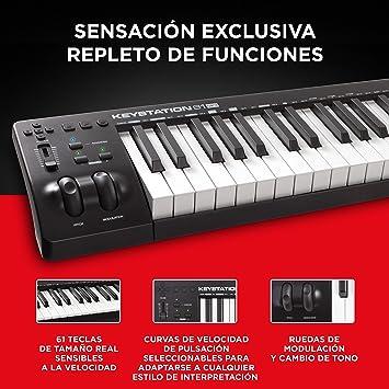 M-Audio Keystation 61MK3 - Teclado Controlador MIDI Compacto de 61 teclas con controles asignables, ruedas de cambio de tono / modulación, ...