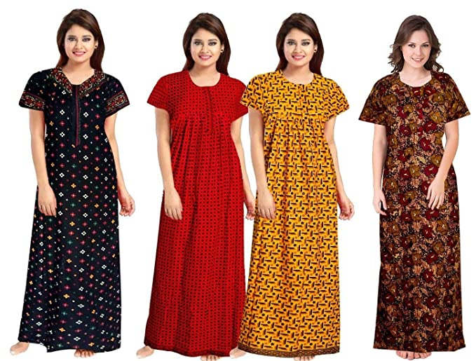 Buy NEGLIGEE Women's Cotton Floral Knee Length Nighty (Pack of 4)  (GW4C05060708_Multicolor_Free Size) at Amazon.in