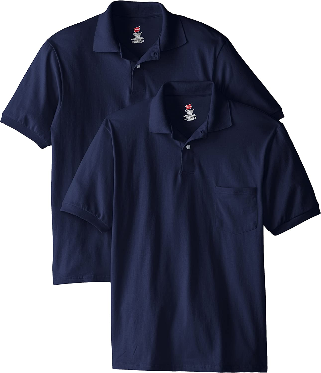 Hanes Men's Short-Sleeve Jersey Pocket Polo (Pack of 2) at  Men's Clothing store