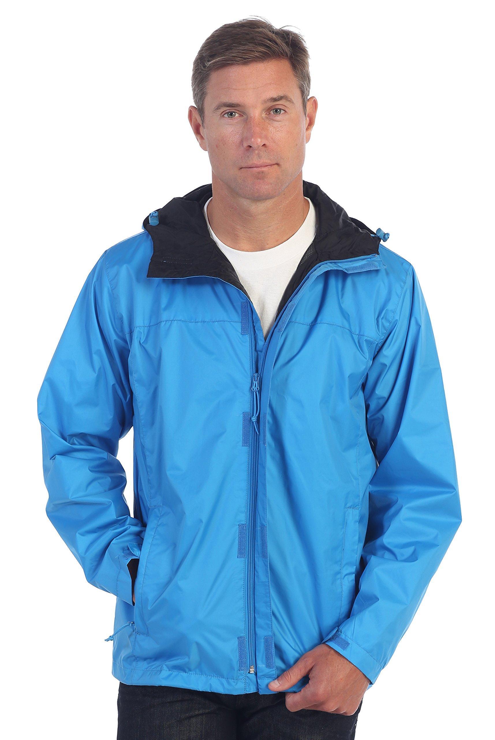 Gioberti Men's Waterproof Rain Jacket, Turquoise, S