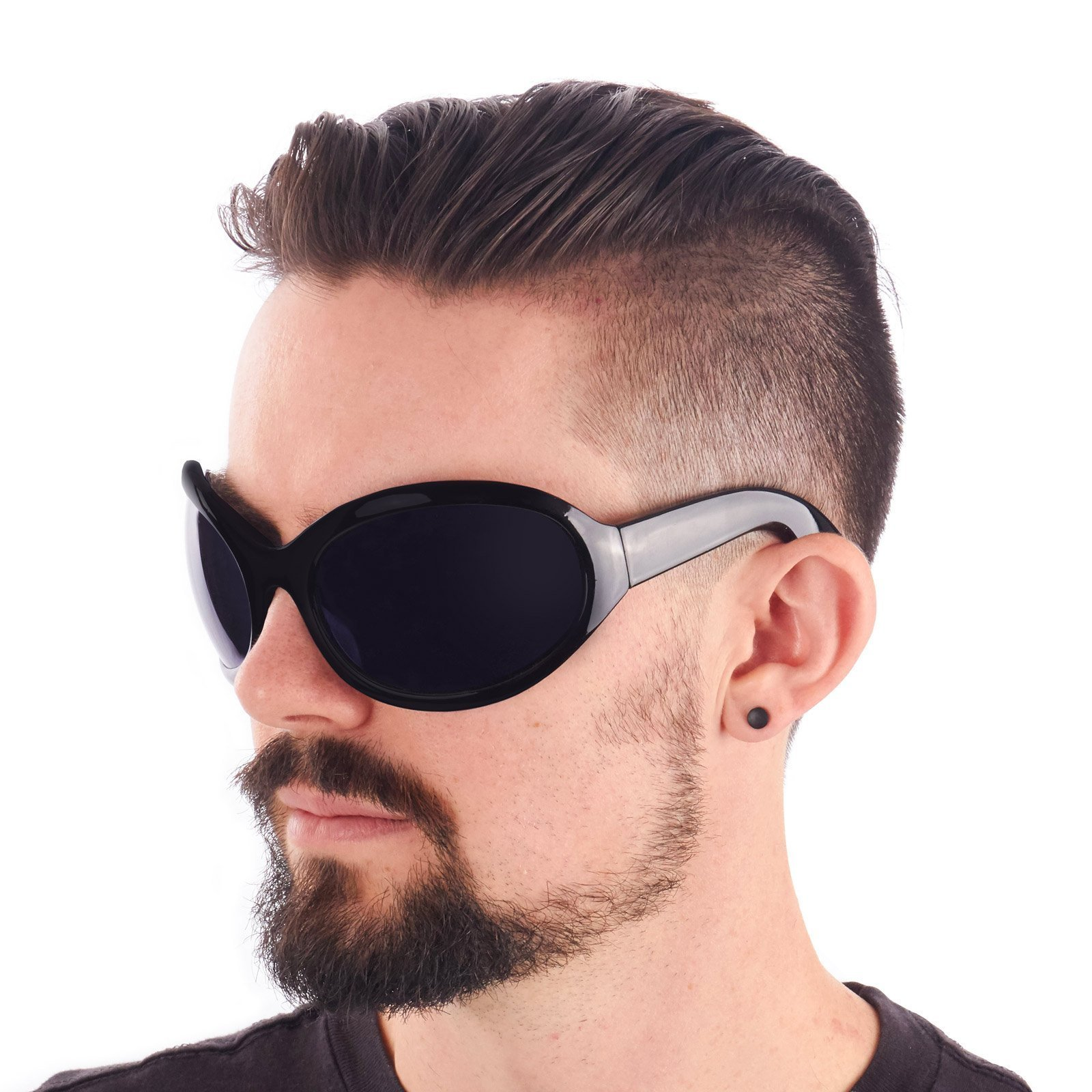 Largemouth Mens Industrial Style Wrap Sunglasses (Black) by Largemouth