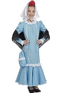 Disfraz Chulapa niña Azul Lunar Blanco (4 años): Amazon.es ...