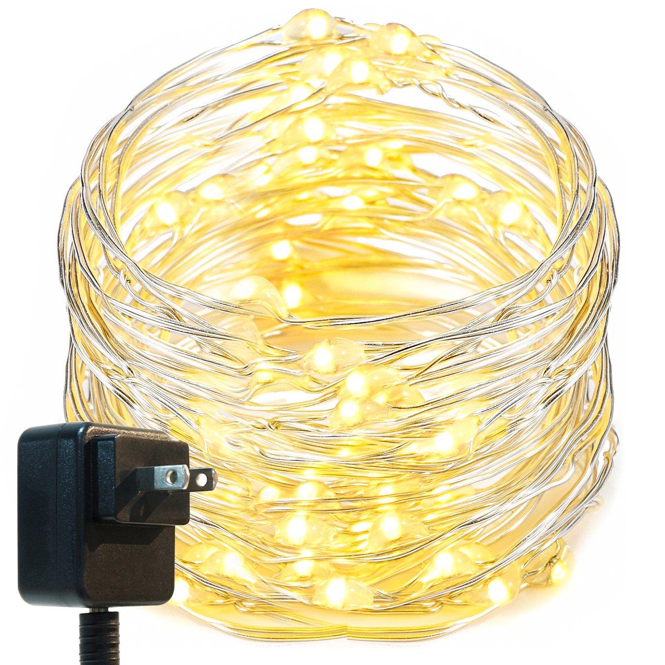 Oak Leaf LED String Lights,33 ft 100 LEDs Starry Fairy Lights for Bedroom,Wedding,Patio,Gate,Party, 3V Power Adapter,Warm White