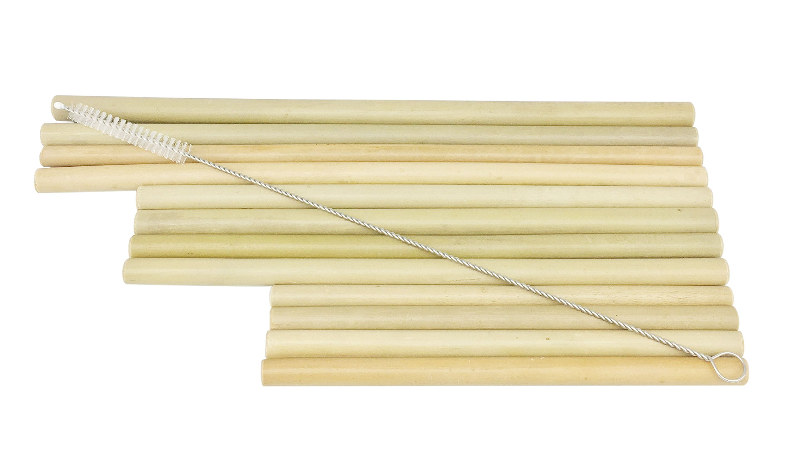 Natural Bamboo Drinking Straws 12 Pcs of Three Length (6In 8In 9In) With Straw Brush For All Types Of Cups