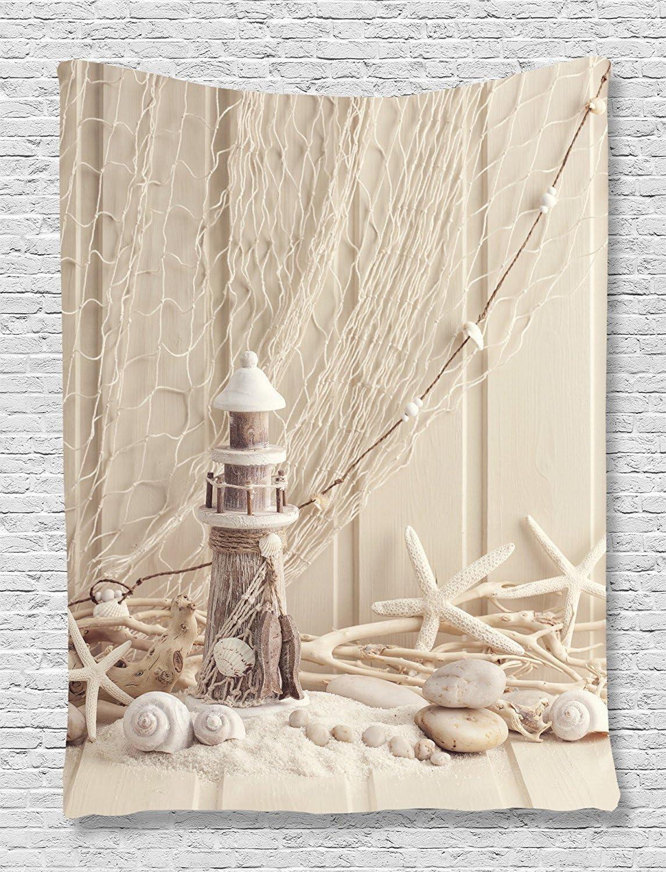 ufdinhaha - Tapiz de playa, decoración náutica, faro de madera ...