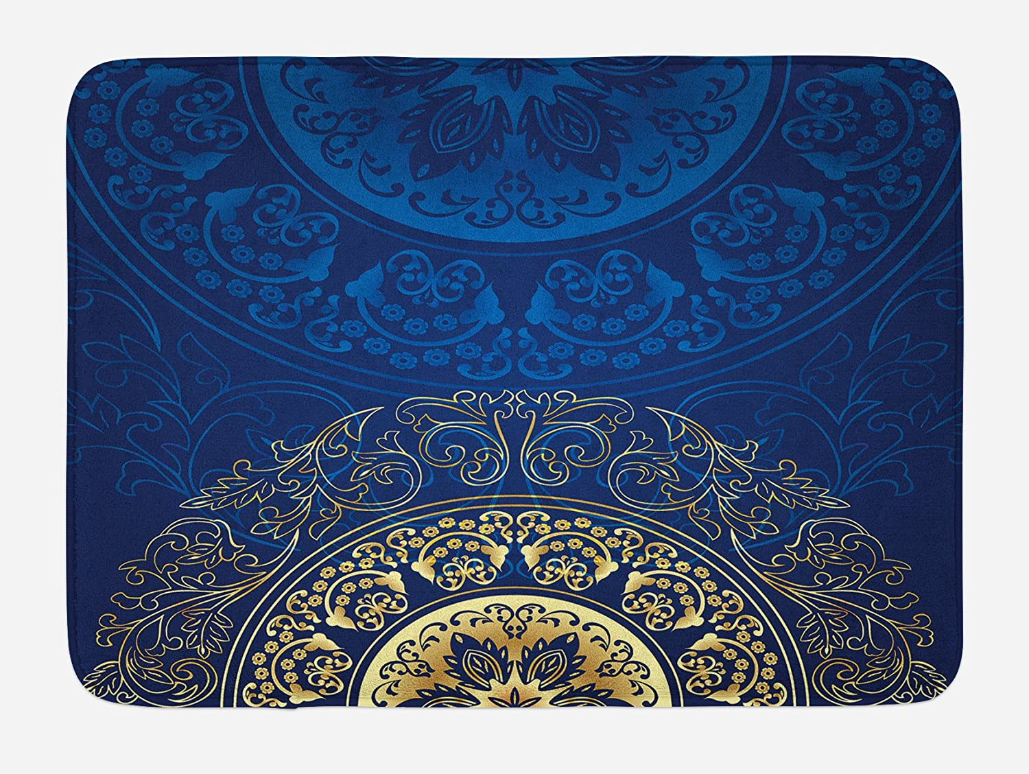 "Lunarable Royal Blue Bath Mat, Vintage Eastern Circular Floral Old Fashioned Design, Plush Bathroom Decor Mat with Non Slip Backing, 29.5"" X 17.5"", Blue Yellow"