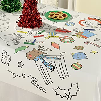 Kids Christmas Colour In Table Cloth Cover Tableware Party