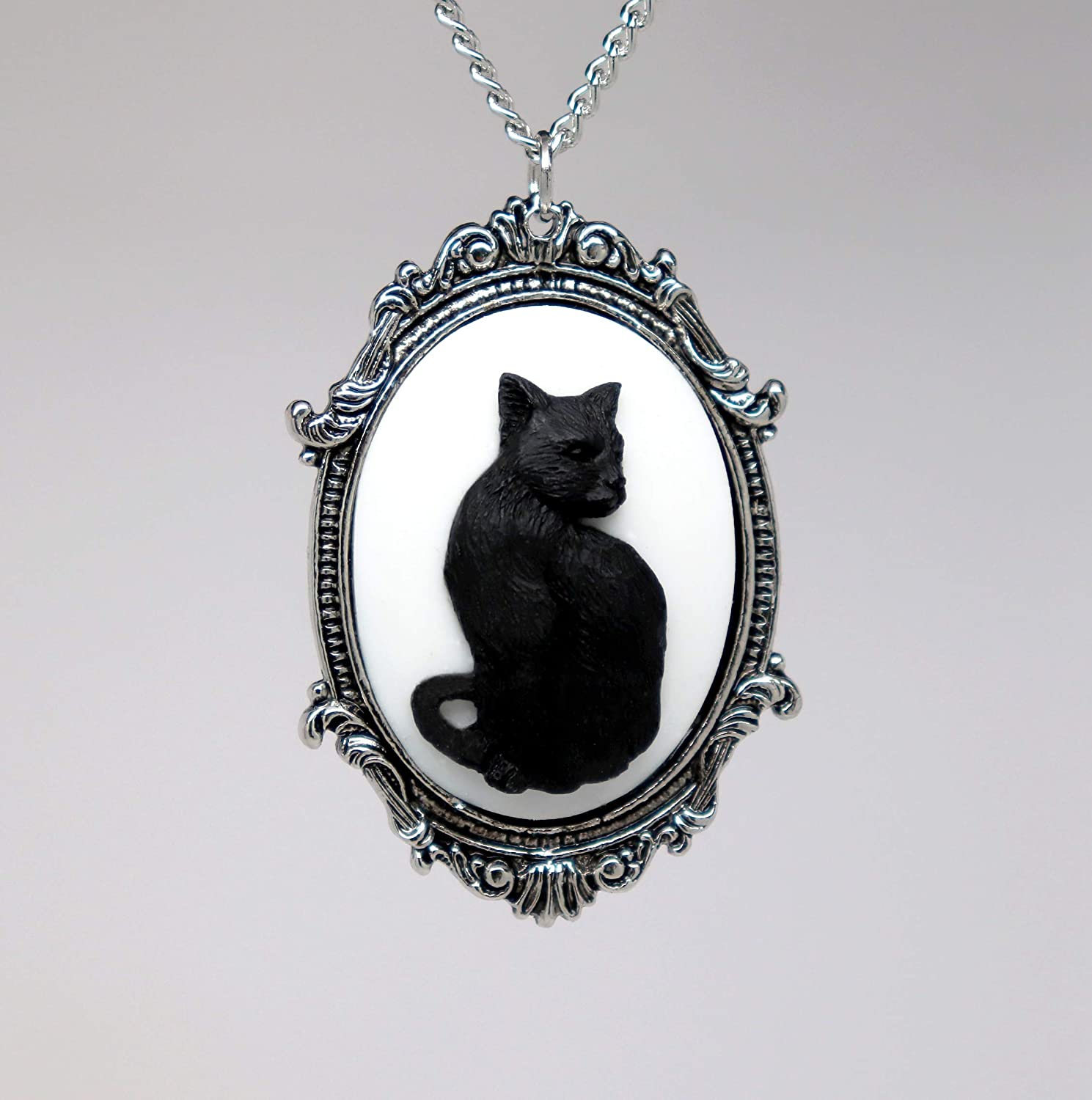 3 Witches silver necklace black cat gothic Halloween retro vintage cameo