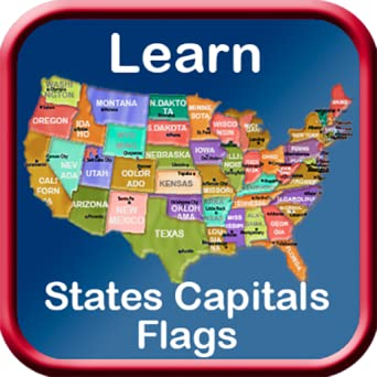 Map Of Texas Quiz.Amazon Com Learn United States Of America Capitals Flags Map