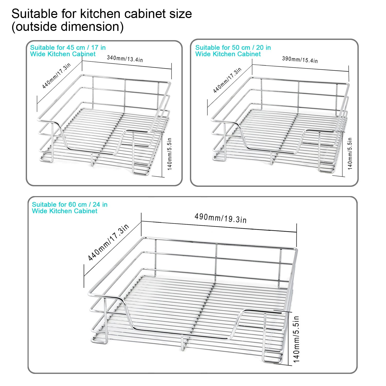 Amazon.com: EvergoHome Roll Out Cabinet Organizer  Chrome Pull Out Under  Cabinet Single Sliding Shelf  Suitable For 20 Inches Wide Kitchen Cabinet  ...