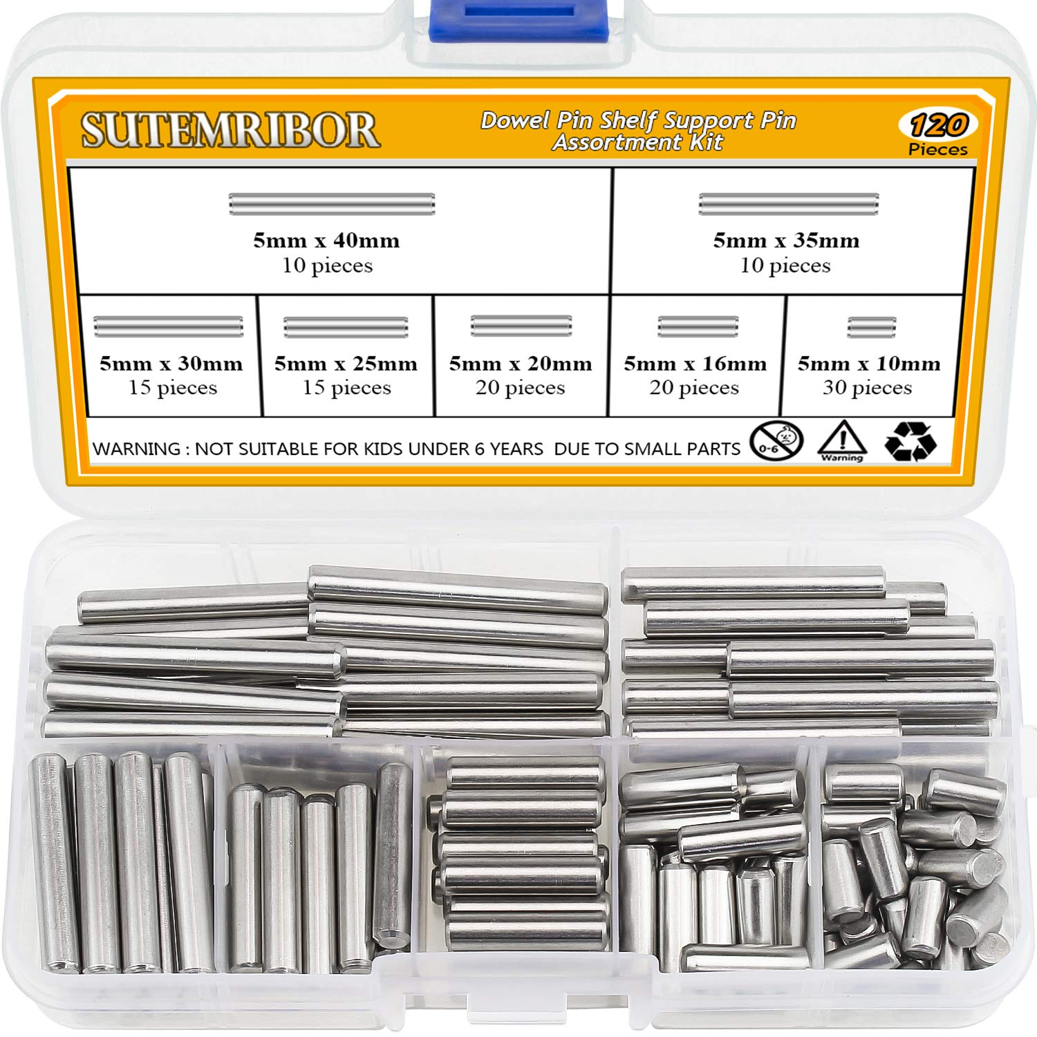 75 Pieces Dowel Pin Stainless Steel Shelf Support Pegs Pin Rod Fasten Elements Assortment Kit