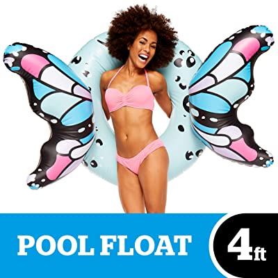 BigMouth Inc Butterfly Wings Pool Float, Pool Tube with Patch Kit Included (Blue): Toys & Games