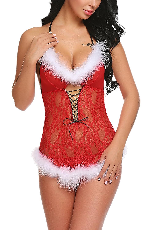 Avidlove Womens Christmas Lingerie Red Babydolls Lace Chemise Santa dress #ALL007577
