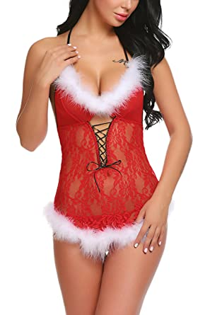 f739143e7 Avidlove Womens Christmas Lingerie Santa Dress Red Babydolls Lace Chemise  Red Small