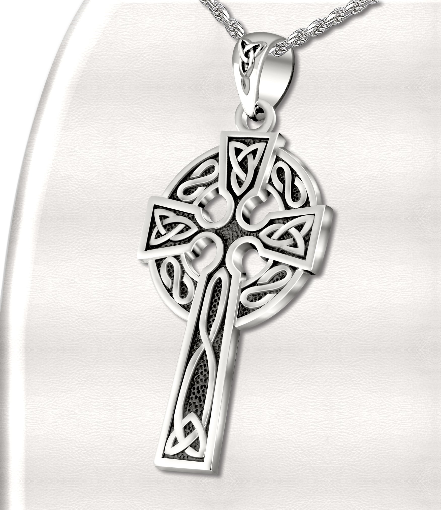 Mens 0.925 Sterling Silver 1.625in Irish Celtic Knot Cross Pendant Antique Finish 3.3mm Rope Necklace, 20in by US Jewels And Gems (Image #4)