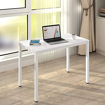 DEVAISE Modern Simple Computer Desk, 42 Small Office Desk with Cord Hole, White