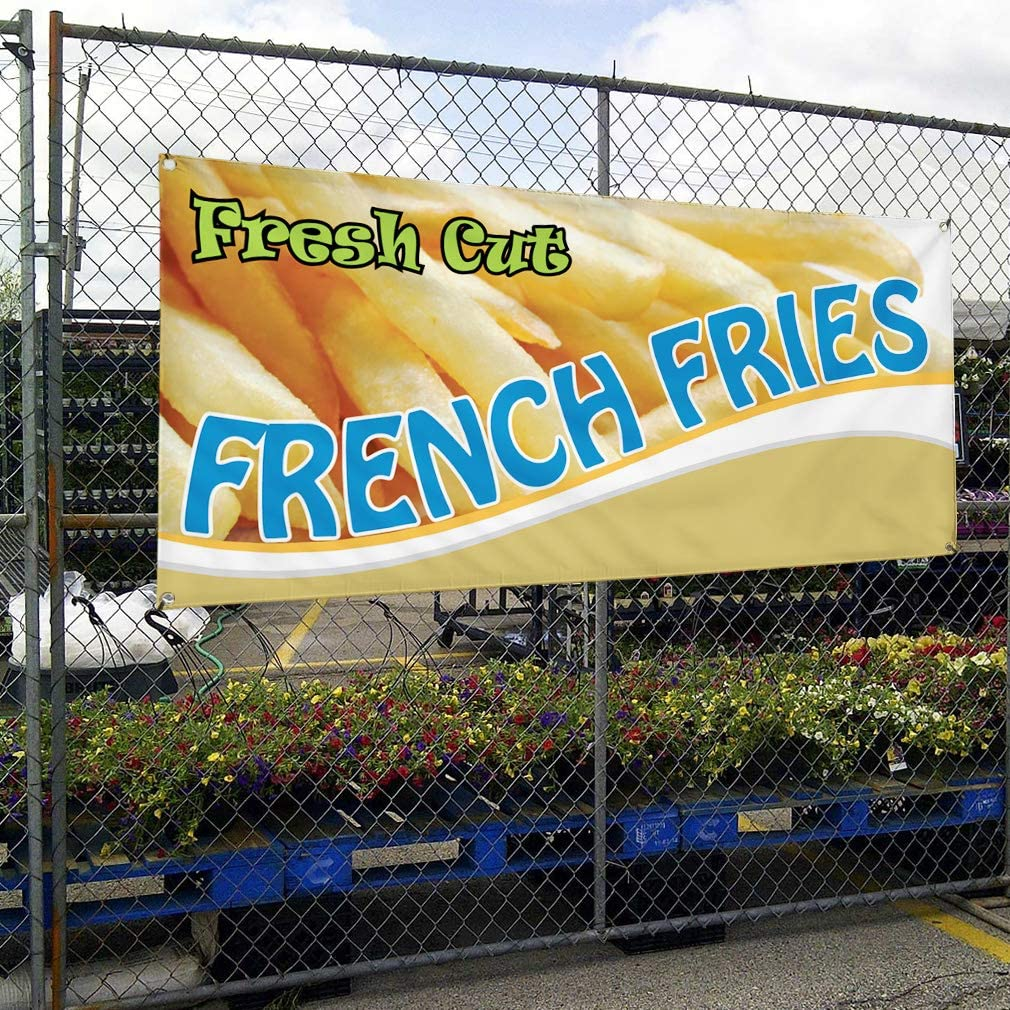 Set of 3 Vinyl Banner Sign Fresh Cut French Fries #1 Style C Outdoor Marketing Advertising Yellow 4 Grommets 24inx60in Multiple Sizes Available