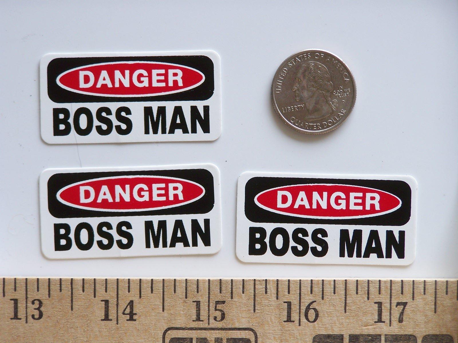 "3 - Danger Boss Man Hard Hat/Helmet Stickers 1"" x 2"" by StickerPirate (Image #1)"