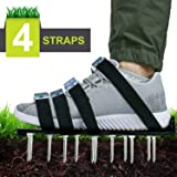 Blissun Lawn Aerator Shoes, 4 Aluminum Alloy Buckles Spiked Aerating Lawn Sandals, 26 Nails for Aerating Your Lawn or Yard, 4 Adjustable Straps Universal Size